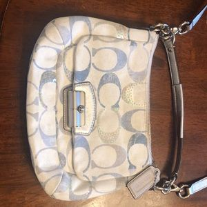 New Coach Purse- White and blue tons silver strap